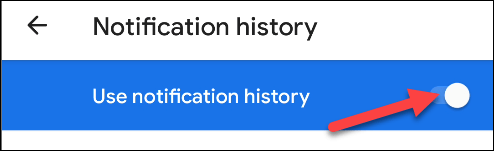 use the notification history toggle