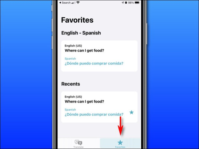 "In Apple Translate on iPhone, tap the ""Favorites"" button."