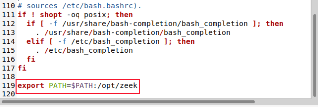 The BASHRC file in the gedit editor with the line export PATH = $ PATH: / opt / zeek.
