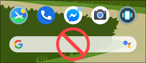 The Google search pixel launcher with a no symbol on it.