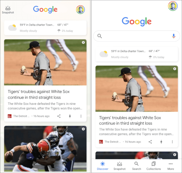 Google Discover in a launcher and in the Google app.