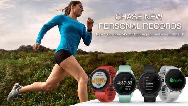 Triathlete running on an open course while wearing the Garmin Forerunner 745 watch