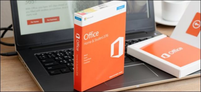 A boxed copy of Microsoft Office 2016 sitting on a laptop computer.