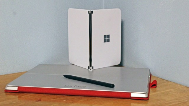 Surface Duo on top of Surface Pro 3 and Surface Slim Pen