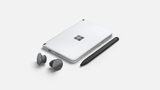 A Surface Duo next to the Surface buttons and a stylus