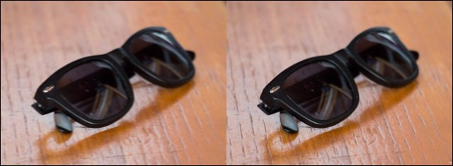 Two images of a pair of sunglasses on a table, one blurry and one clear.