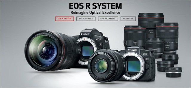 An advertisement for Canon EOS R System mirrorless cameras.