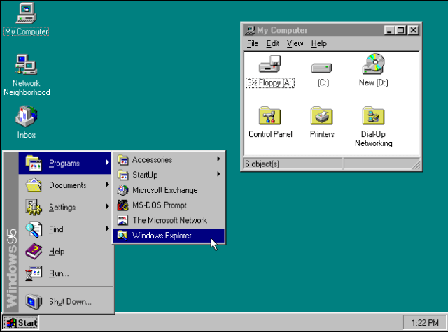 The Start button on a Microsoft Windows 95 desktop.