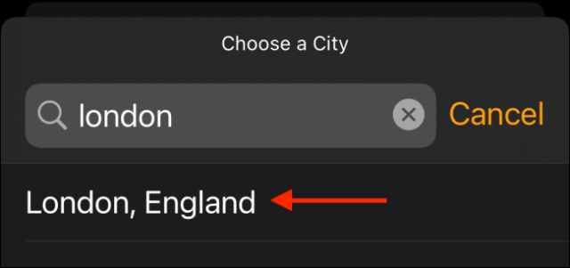 Type the location you want to add in the search bar and then tap it in the results.