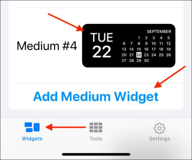 Tap the desired widget size.