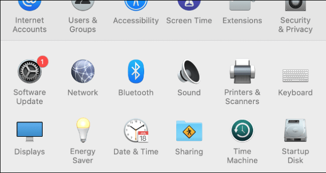Software Update in macOS System Preferences
