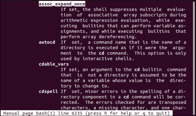 The manual showing the shopt options section of the Bash man page in a terminal window.