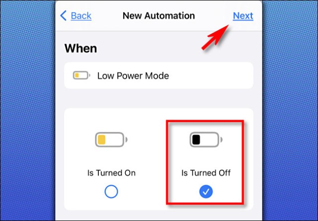 """In Apple Shortcuts on iPhone, select """"Is Turned Off,"""" then tap """"Next."""""""