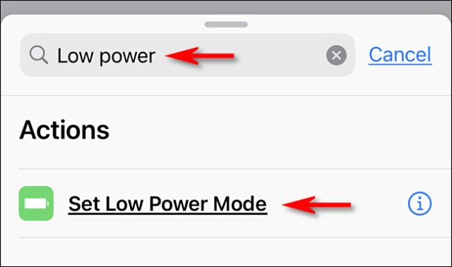 """In Apple Shortcuts on iPhone, search for """"low power,"""" then tap """"Set Low Power Mode."""""""