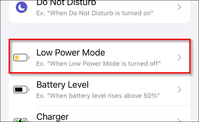 """In Apple Shortcuts on iPhone, tap """"Low Power Mode"""" in the automations list."""