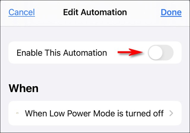 """Tap """"Enable This Automation"""" to turn the switch off."""