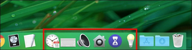 Several preferences pane shortcuts located in the Mac Dock.