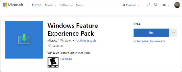 The Windows Features Experience Pack in the Microsoft Store
