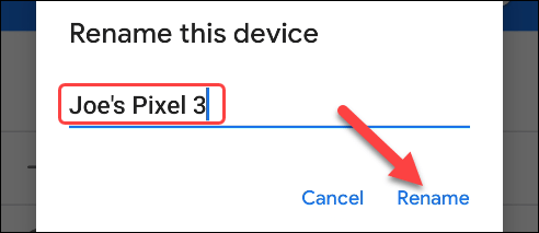 enter the new device name