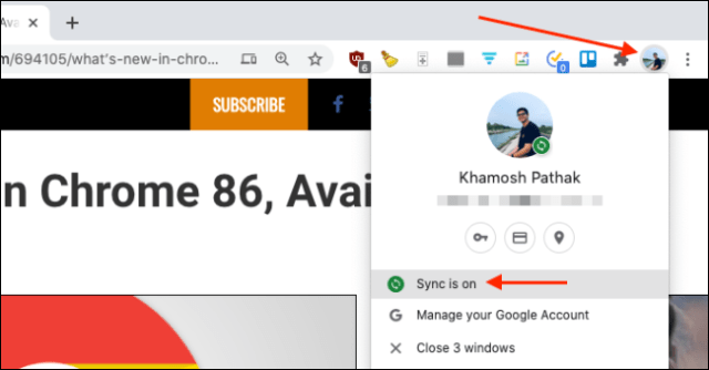 Make sure sync is turned on for Chrome on Mac