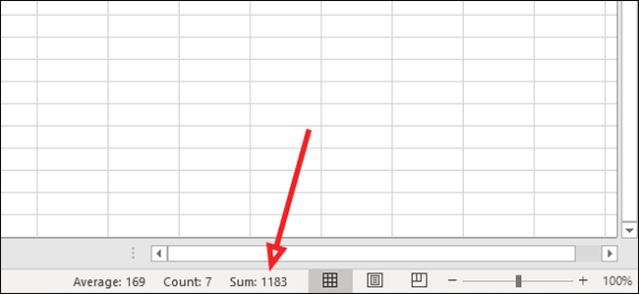 sum at the bottom of excel