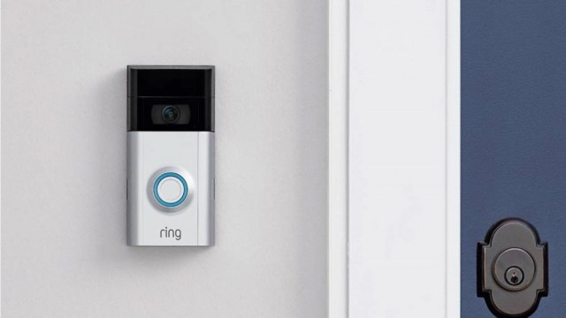 A Ring Video Doorbell 2 mounted in a house.