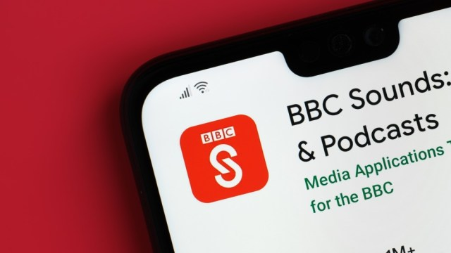 BBC Sounds app viewed on top of mobile phone screen