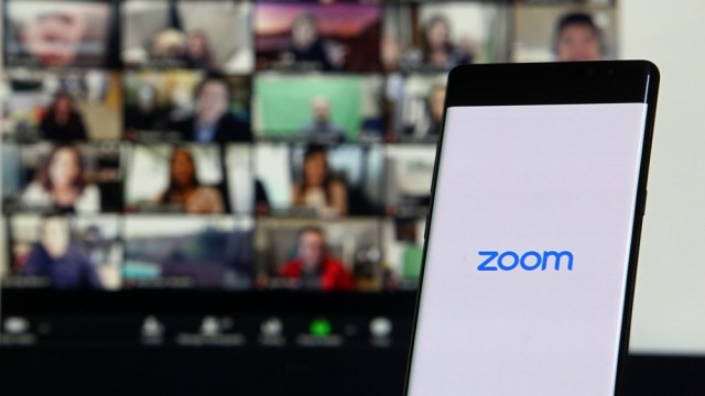 Smartphone showing Zoom video meeting application