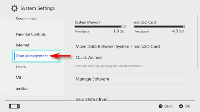 """In Switch System Settings, select """"Data Management."""""""
