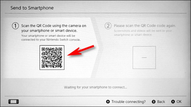 Using your smart device, scan the first QR code on the switch.