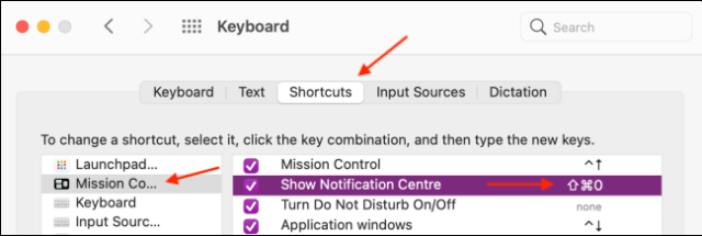 Set the keyboard shortcut for action center