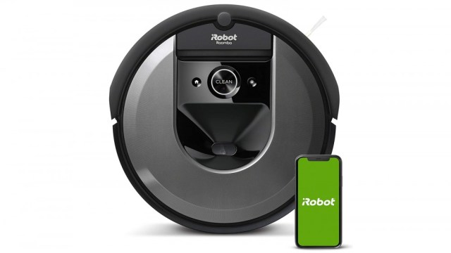 iRobot Roomba i7 and mobile application on white background