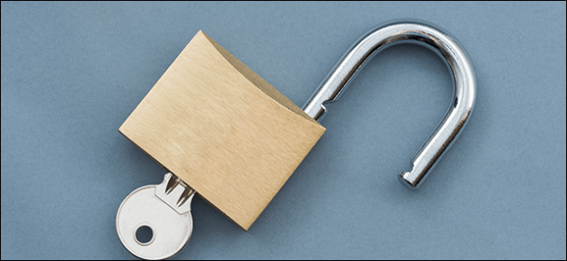 An open padlock with a key inserted.