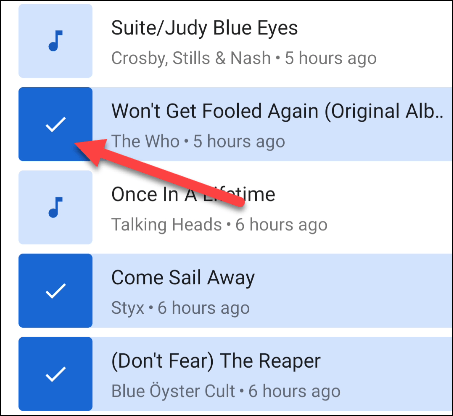 select songs to add