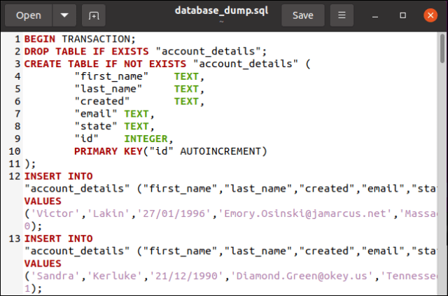 An SQL database dump file in the gedit editor