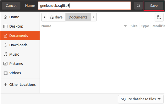 Save file dialog with the database named geeksrock.sqlite3 input