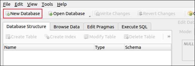 New database in DB Browser for SQLite toolbar