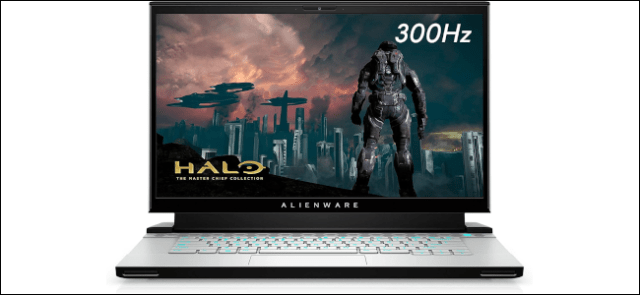 The Alienware m15 gaming laptop with a Halo image displayed on the screen.