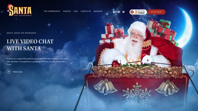Santa the Experience Virtual Santa calls with Santa in his sleigh in the night sky