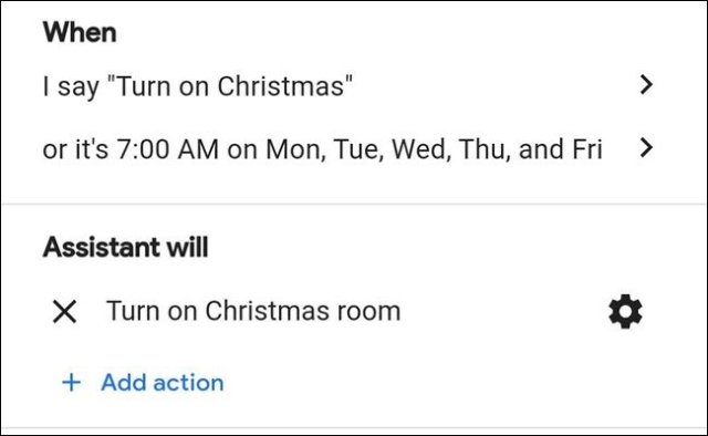 Christmas Lights Routine in the Google Assistant.