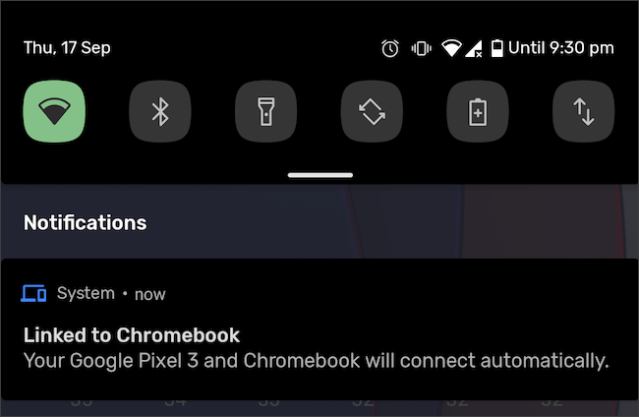 Android phone and Chromebook notification