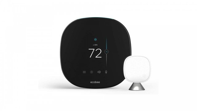 An ecobee smart thermostat with temperature sensor.