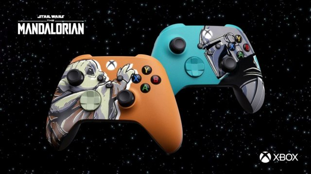 A photo of the Baby Yoda and Mandalorian Xbox controllers.