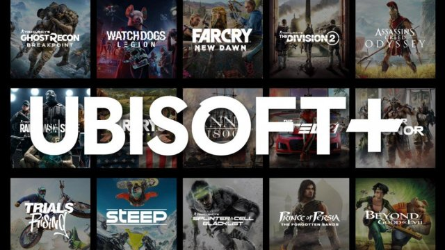 Ubisoft Plus logo with a handful of games behind