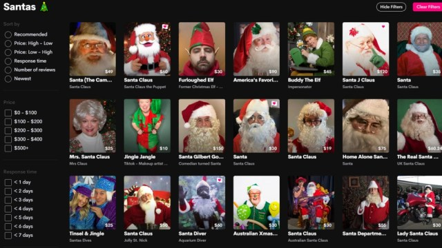 Cameo's Santa Actor Video Message Options