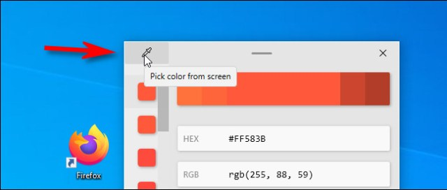In the color picker, click the eyedropper button to choose another color.