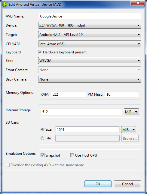 Configure Android Virtual Device - Create Options