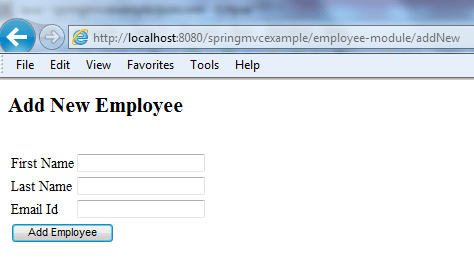 Spring MVC Form Example - Blank Form