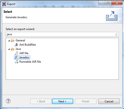 Export Java Doc Option
