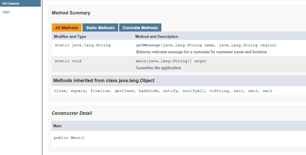 Generated Java docs - 2